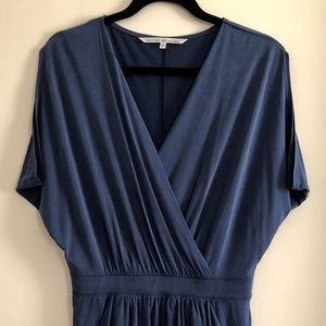 Drape detail mid length dress in steel blue
